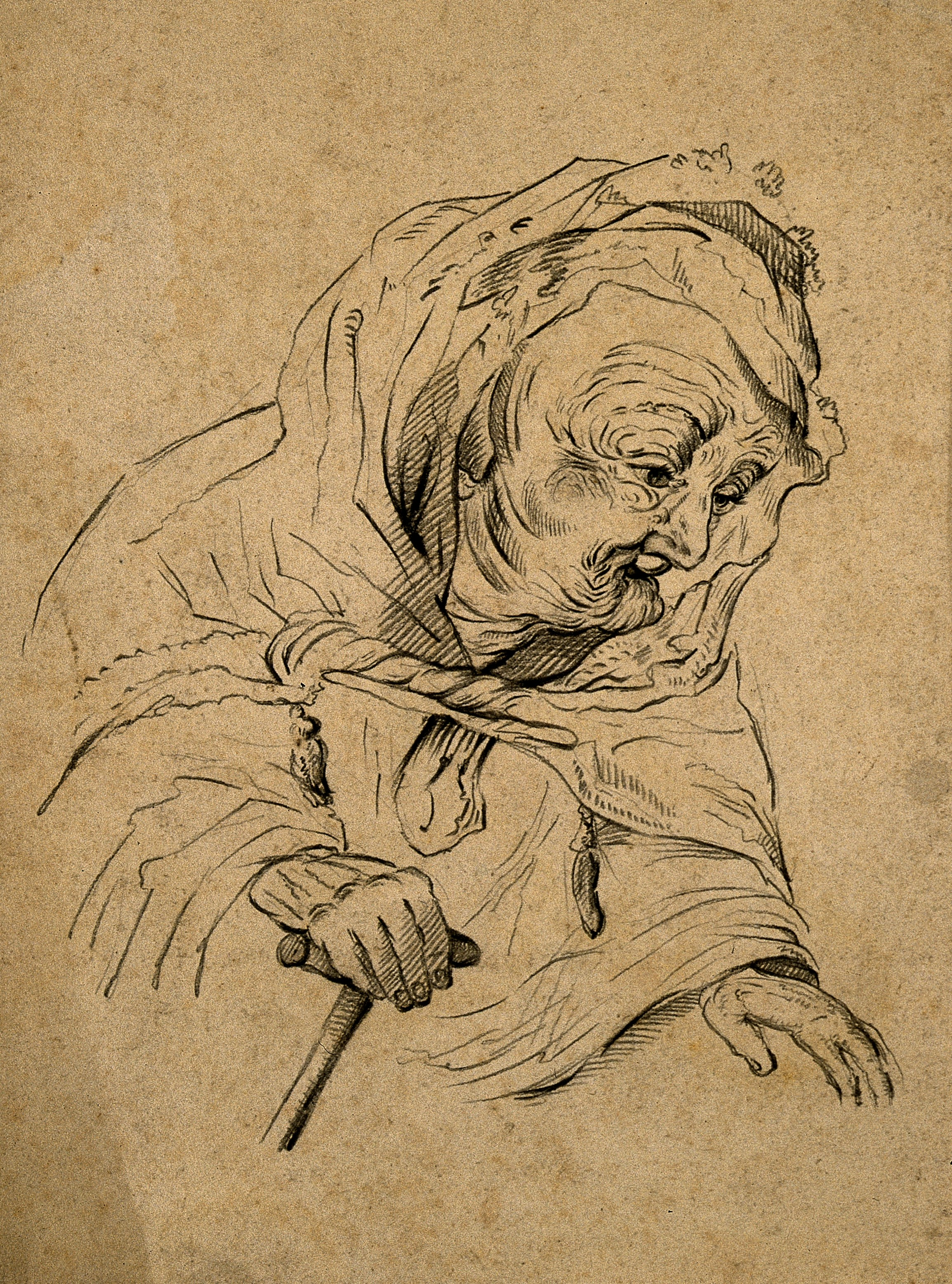 V0007469 A very old woman. Pencil drawing after Rembrandt. Credit: Wellcome Library, London. Wellcome Images images@wellcome.ac.uk http://wellcomeimages.org A very old woman. Pencil drawing after Rembrandt. By: Rembrandt Harmenszoon van RijnPublished:  -   Copyrighted work available under Creative Commons Attribution only licence CC BY 4.0 http://creativecommons.org/licenses/by/4.0/
